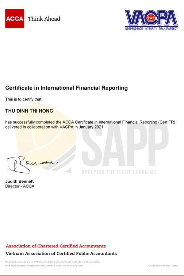 Certificate Dinh Thi Hong Thu